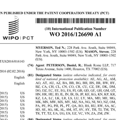 Patent WO 2016/126690