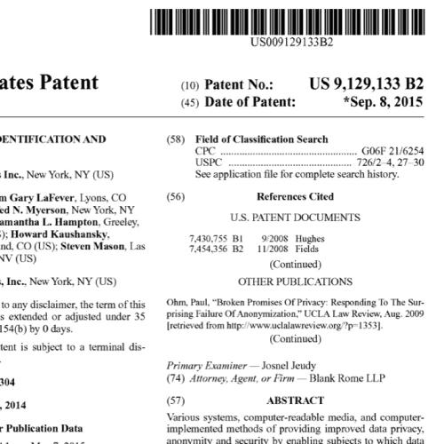 Patent US 9,129,133