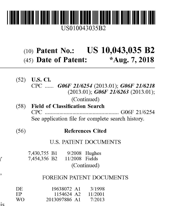 Patent US 10,043,035