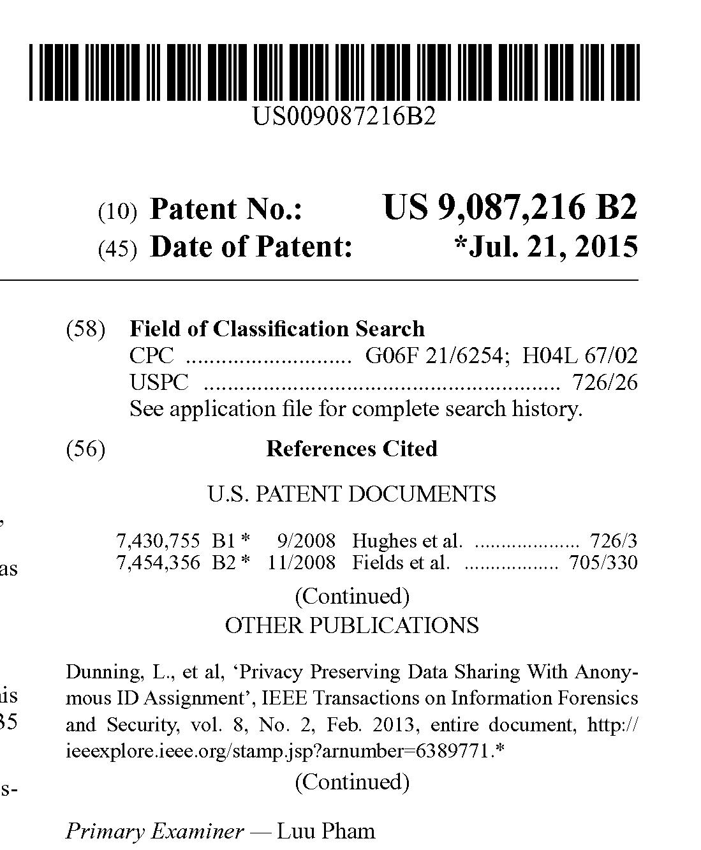 Patent US 9,087,216