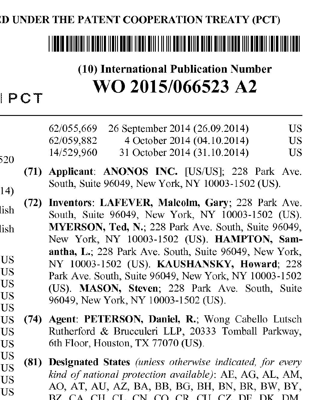 Patent WO 2015/066523