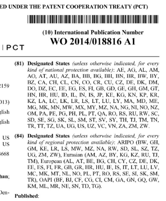 Patent WO 2014/018816