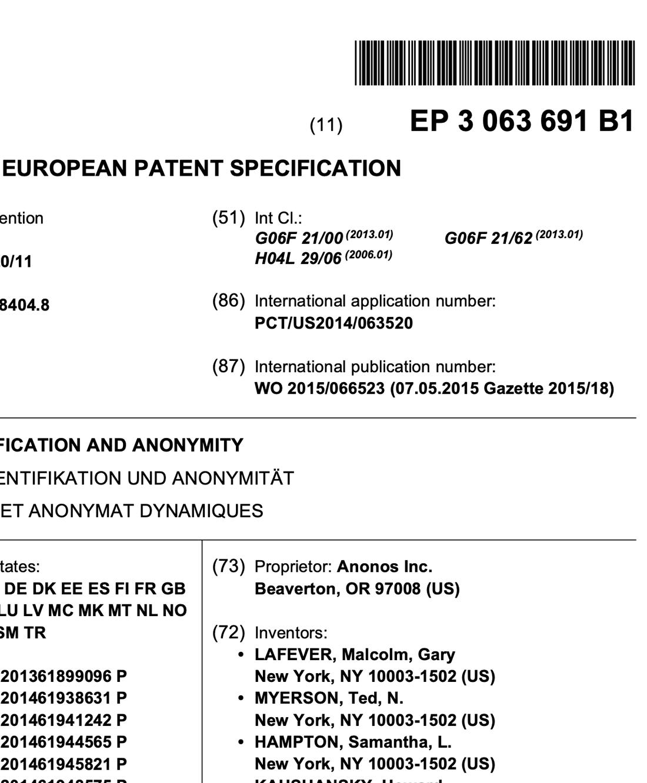 Patent EP 3,063,691