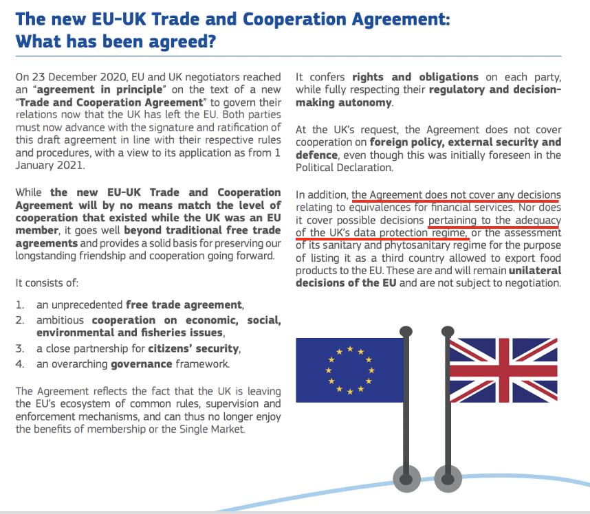 Highlghted and annotated text of official European Union Brexit Deal Brochure